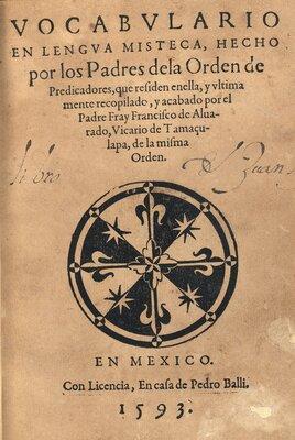 """""""Vocabulario en lengua mixteca"""", portada"""