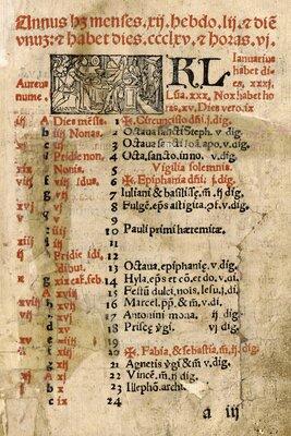 Roman Catholic liturgical calendar of feast and ceremonial days