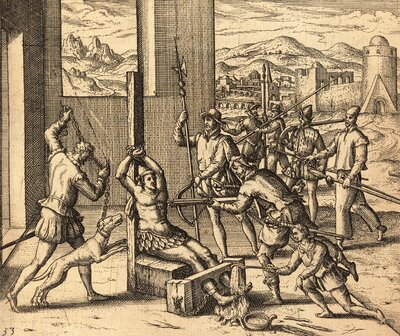 Torture of Indigenous king in the province of Michoacan