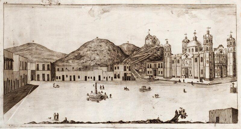 Perspectiva del complejo religioso del santuario de la Virgen de Guadalupe y sus alrededores