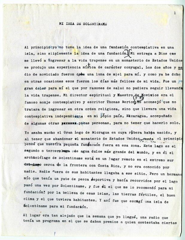 """""""Mi Isla de Solentiname,"""" page 1"""