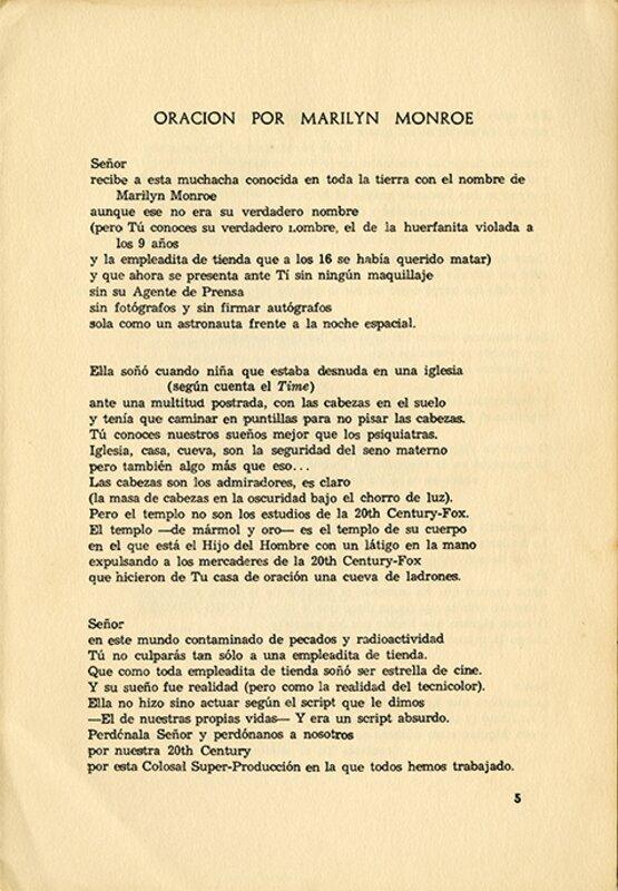 """""""Oración por Marilyn Monroe,"""" page 1"""