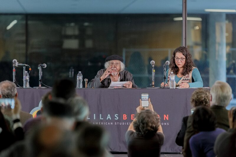 Ernesto Cardenal reading during event at Benson Latin American Collection