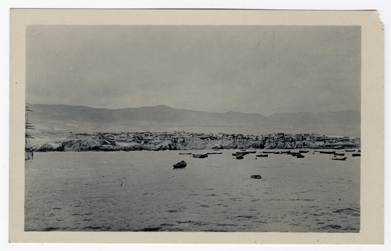 """""""Water front of the city and the hills beyond, as seen from the deck of a ship"""""""